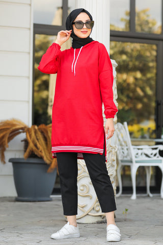 Women's Long Back Red Modest Tunic / Sweatshirt