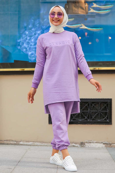 Women's Long Back Lilac Modest Tunic & Pants Set