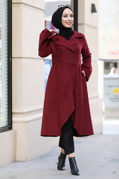 Women's Asymmetric Cut Claret Red Modest Cachet Coat