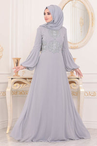 Women's Balloon Sleeves Grey Modest Evening Dress