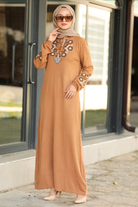 Women's Camel Modest Tricot Long Dress