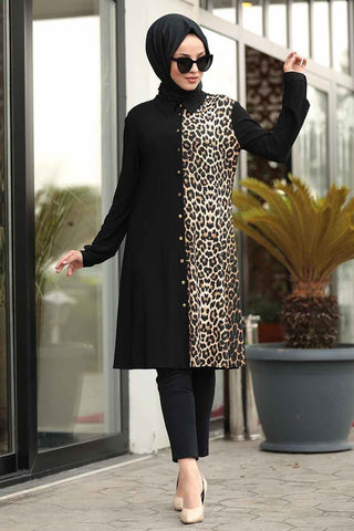 Women's Leopard Detail Modest Tunic