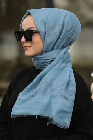 Women's Thick Striped Blue Cotton Scarf