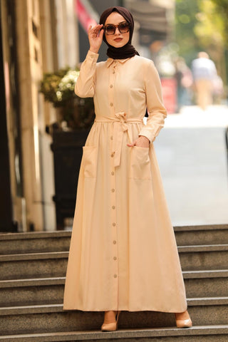 Women's Pocket Beige Modest Long Dress