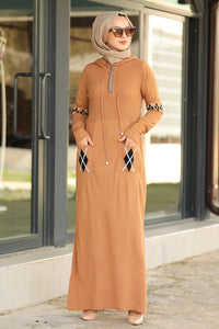 Women's Pocket Camel Modest Tricot Long Dress