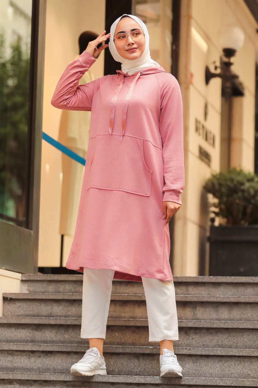 Women's Pocket Dusty Rose Modest Sweatshirt / Tunic