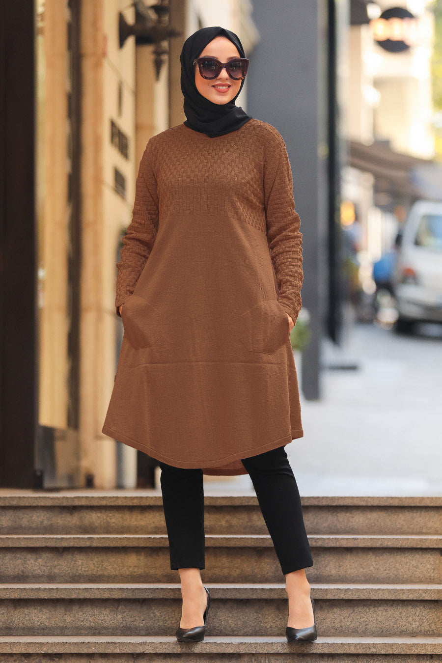 Women's Pocket Brown Modest Tricot Tunic