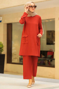 Women's Pocket Tile Red Modest Tunic & Pants Set
