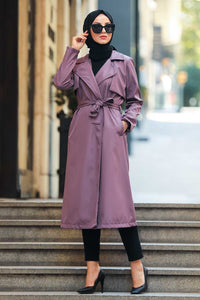 Women's Pocket Lilac Modest Trenchcoat