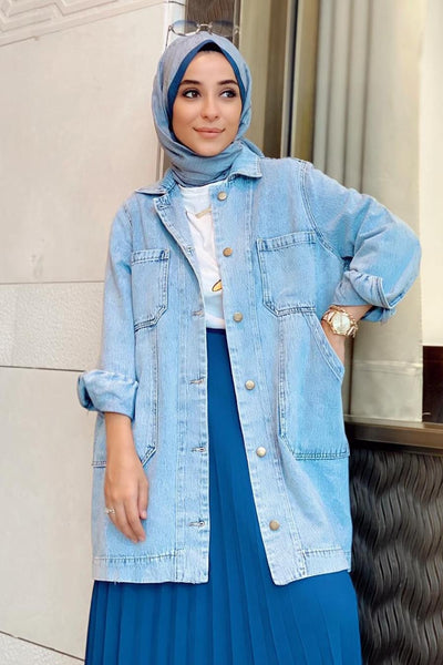 Women's Pocket Blue Modest Denim Jacket
