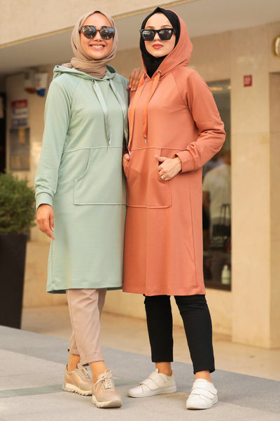 Women's Pocket Mint Green Modest Tunic / Sweatshirt