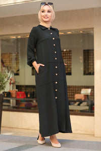 Women's Pocket Black Modest Long Dress / Abaya