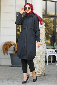 Women's Pocket Black Modest Coat
