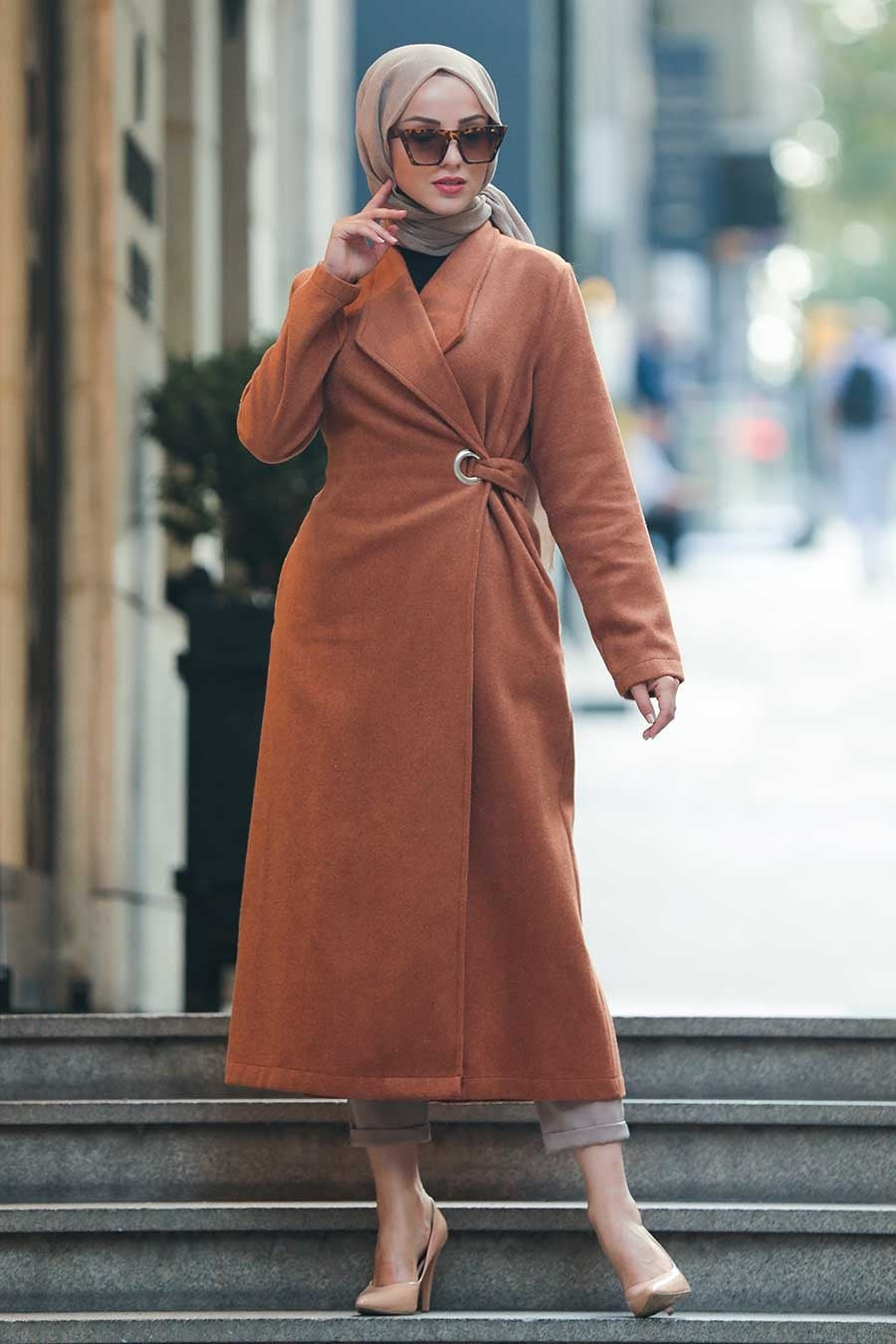 Women's Pocket Ginger Modest Trenchcoat