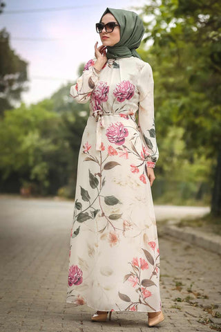 Women's Floral Pattern Beige Modest Long Dress