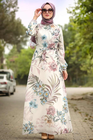Women's Floral Pattern Modest Long Dress