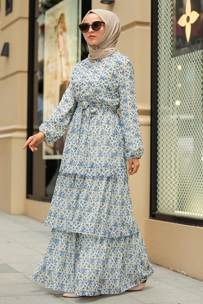 Women's Indigo Floral Pattern Modest Long Dress