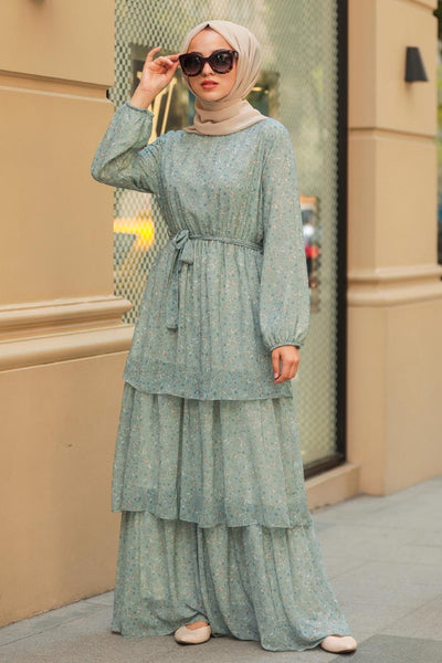 Women's Floral Pattern Mint Green Modest Dress