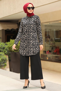 Women's Floral Pattern Black Modest Shirt