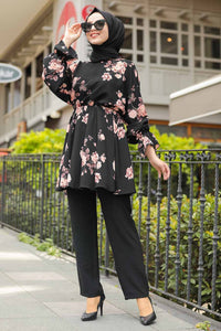 Women's Floral Pattern Black Modest Tunic