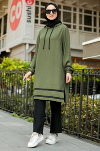 Women's Striped Khaki Modest Tunic & Black Pants
