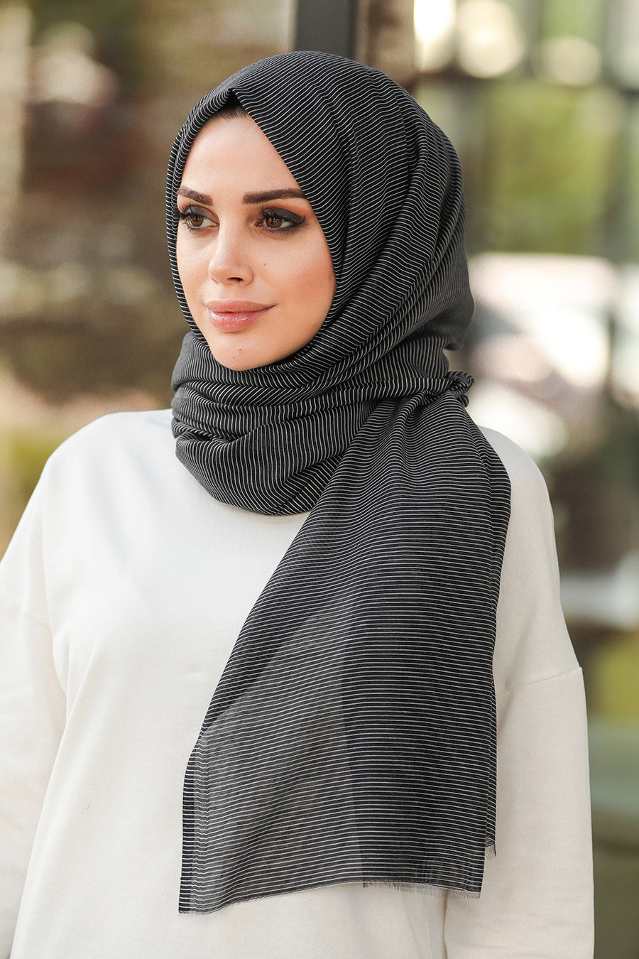 Women's Striped Black Chiffon Shawl