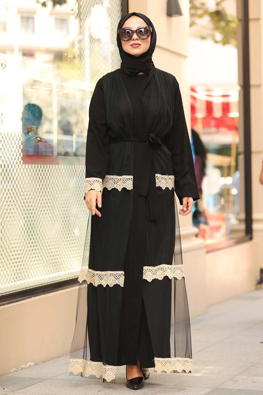 Women's Lace Detail Black Modest Abaya