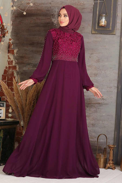 Women's Lace Detail Maroon Modest Evening Dress