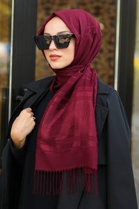 Women's Patterned Claret Red Chiffon Shawl