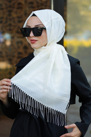 Women's Patterned Ecru Chiffon Shawl