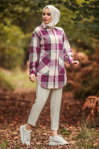 Women's Plaid Fuchsia Modest Tunic