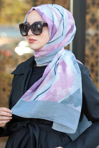 Women's Patterned Grey Chiffon Shawl