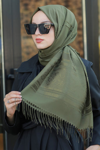 Women's Patterned Khaki Chiffon Shawl