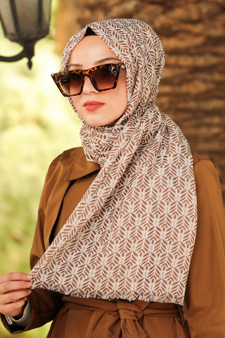 Women's Patterned Brown Shawl