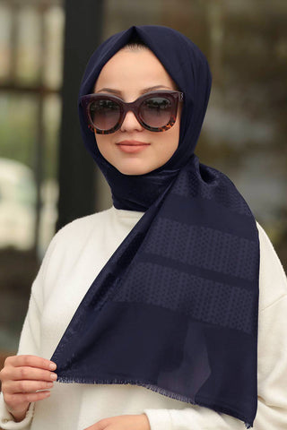 Women's Patterned Navy Blue Shawl