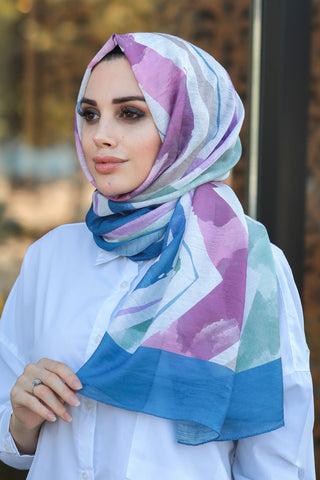 Women's Patterned Multi-color Chiffon Shawl