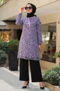 Women's Patterned Lilac Modest Tunic