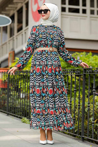 Women's Patterned Modest Long Dress