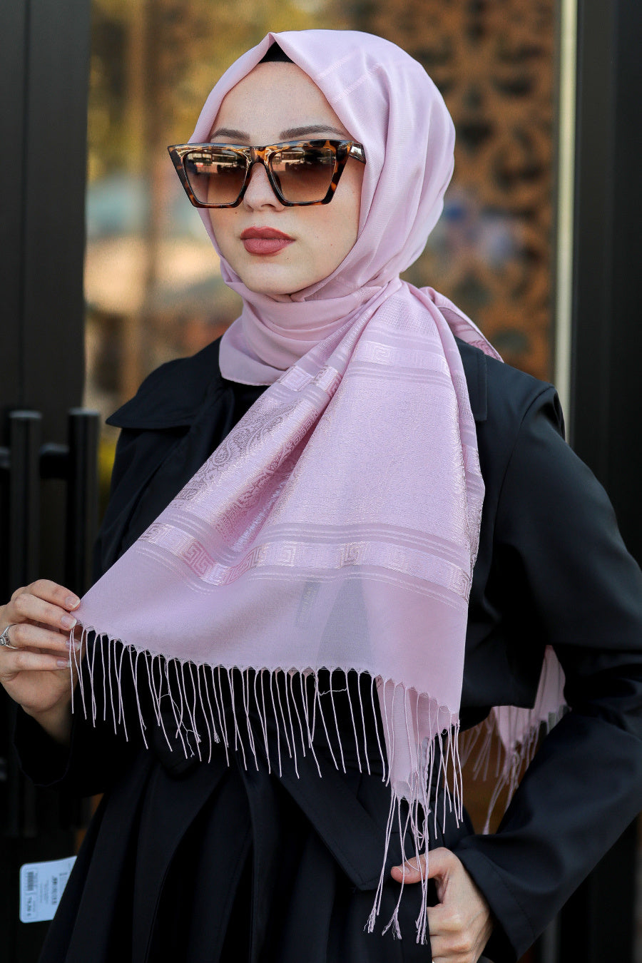 Women's Patterned Pink Chiffon Shawl