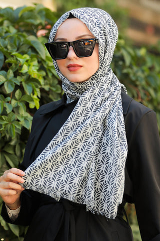 Women's Patterned Black - White Shawl