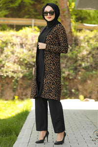 Women's Leopard Pattern Black Modest 2 Piece Outfit Set