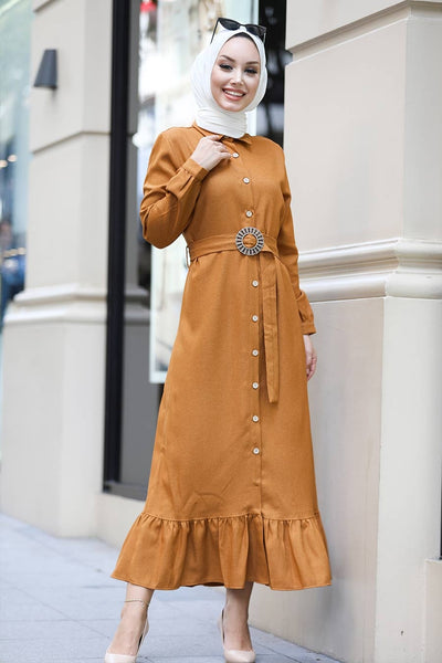 Women's Button Mustard Modest Long Dress
