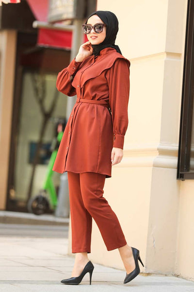 Women's Button Tile Red Modest Tunic & Pants Set