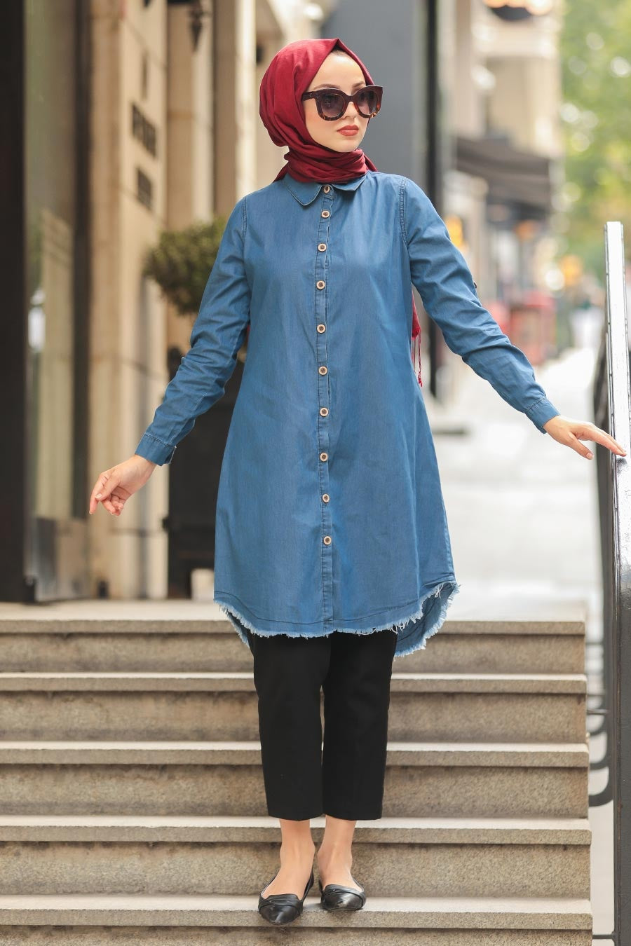 Women's Button Navy Blue Denim Modest Tunic