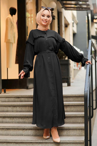 Women's Button Black Modest Long Dress / Abaya