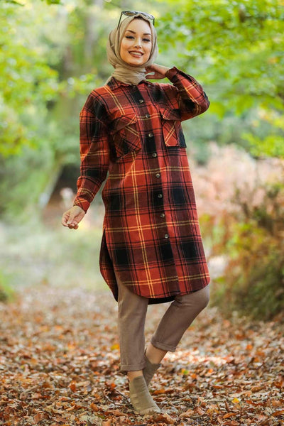 Women's Plaid Tile Red Modest Tunic