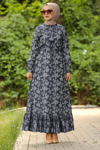 Women's Frill Hem Navy Blue Modest Dress