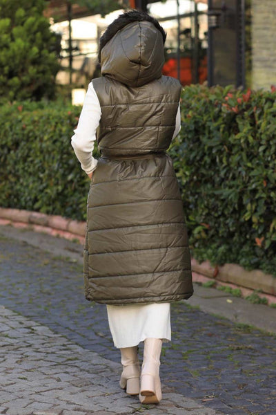 Women's Zipped Khaki Modest Blown Vest