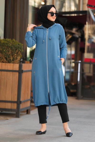 Women's Zipper Indigo Modest Tunic