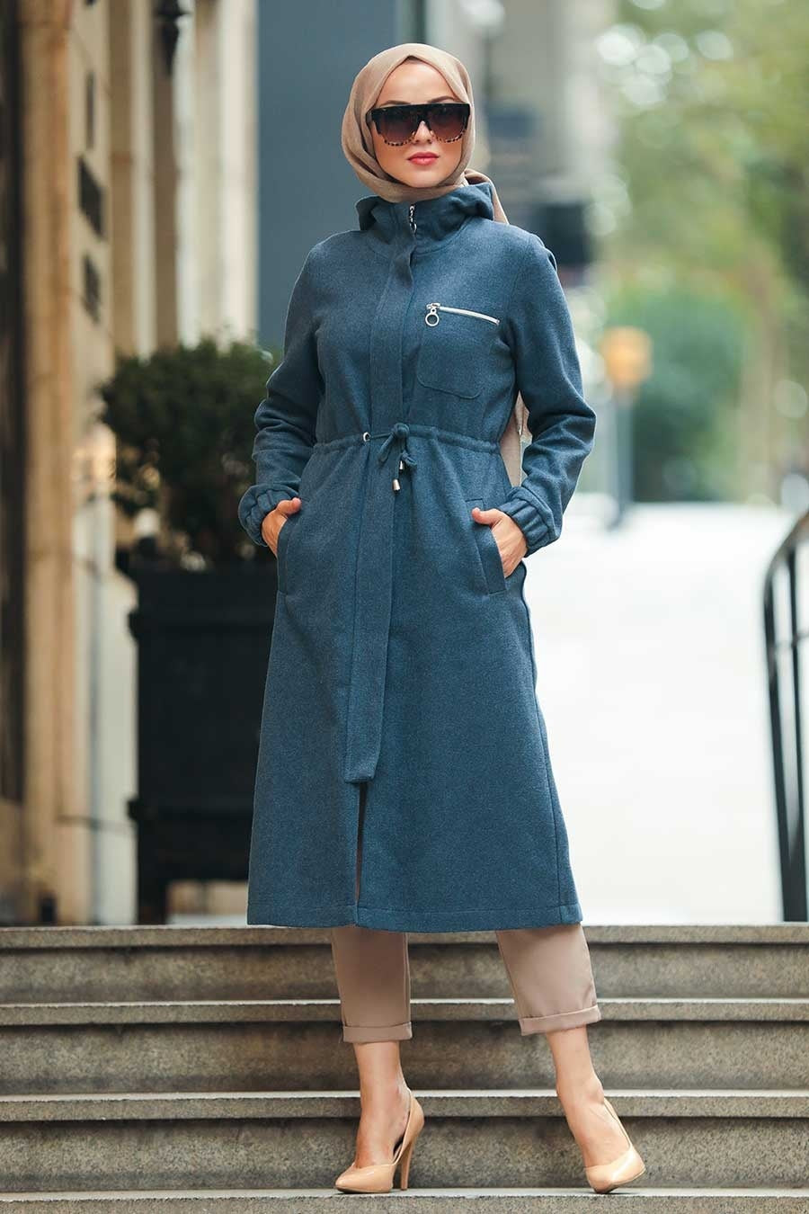 Women's Zipper Indigo Modest Coat